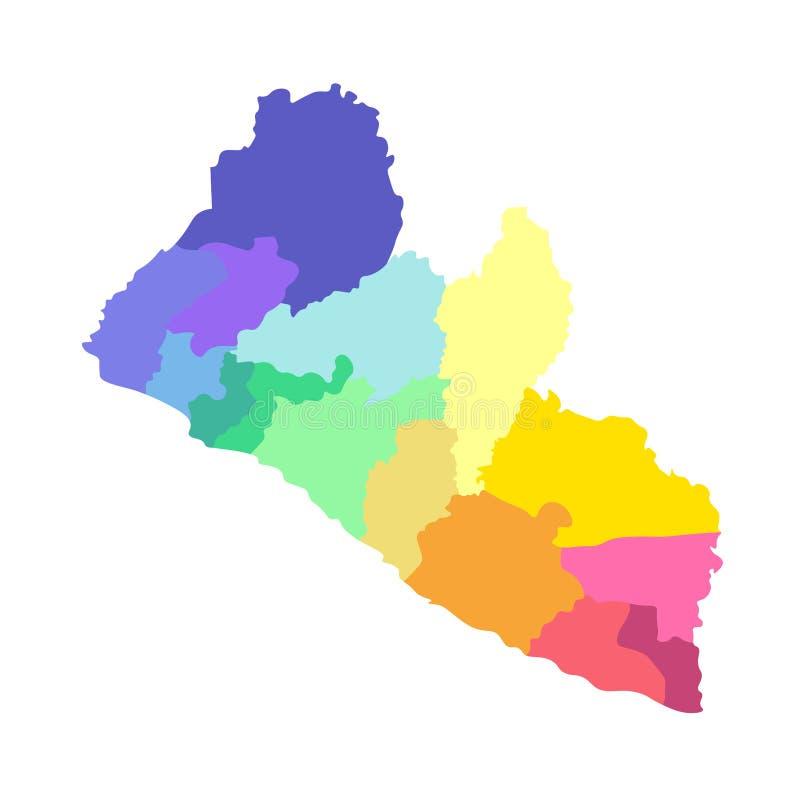 传染媒介被简化的后勤情况图利比里亚的被隔绝的例证 县的边界 库存例证