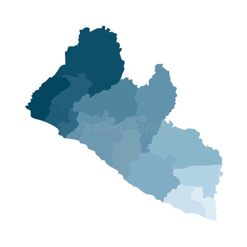 传染媒介被简化的后勤情况图利比里亚的被隔绝的例证 县的边界 皇族释放例证