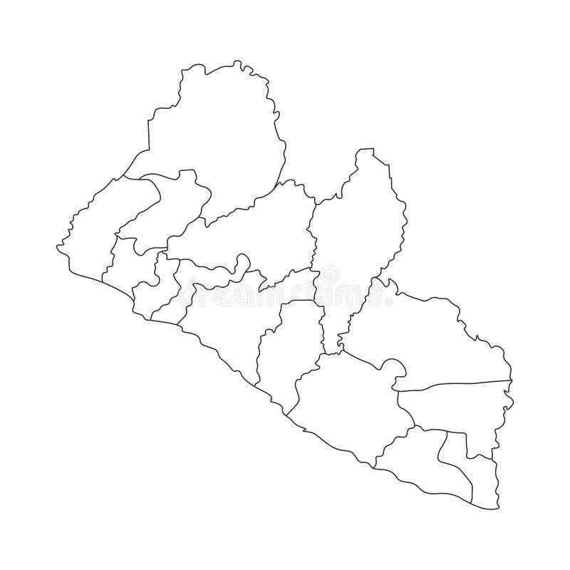 传染媒介被简化的后勤情况图利比里亚的被隔绝的例证 县的边界 向量例证