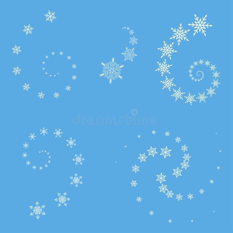 传染媒介被设置的雪花漩涡 寒假或圣诞节设计的元素 向量例证