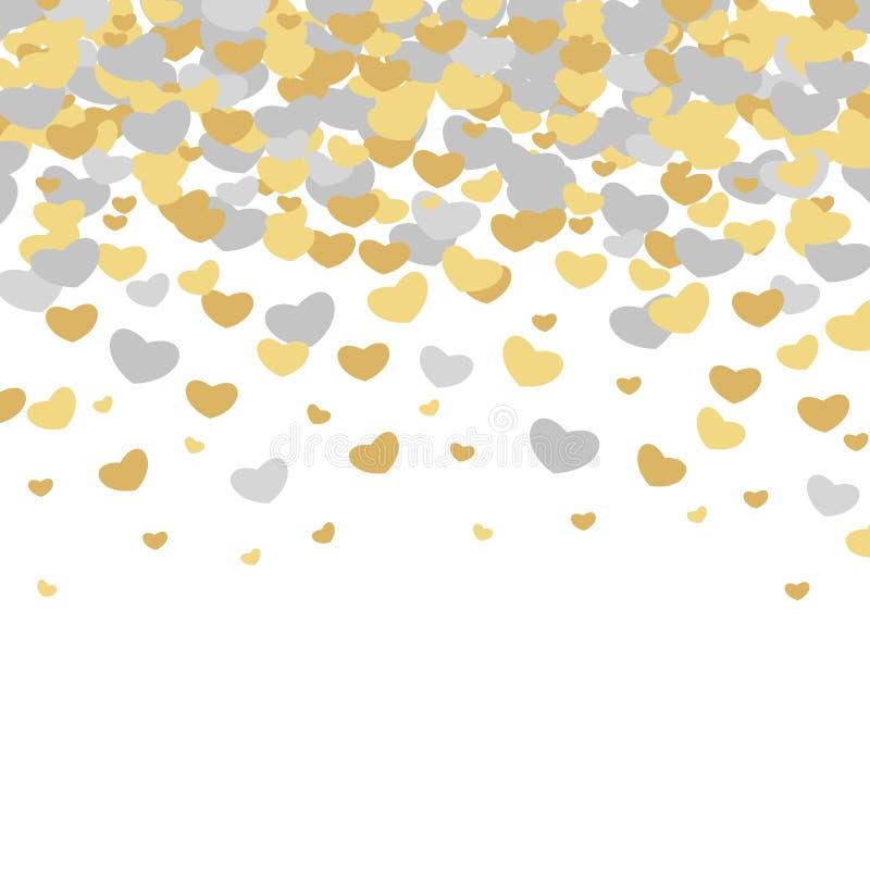 传染媒介被说明的华伦泰` s天样式 与金子般的心的逗人喜爱的瓦片婚礼背景和银 库存例证
