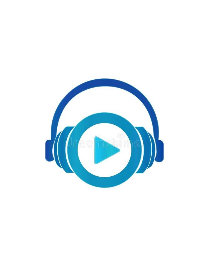E 传染媒介被隔绝的浅兰的梯度耳机标志 向量例证
