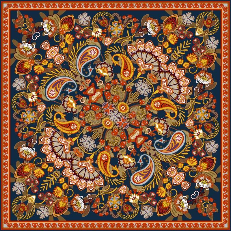 传染媒介装饰品佩兹利班丹纳花绸印刷品、丝绸围巾或者方巾方形的样式设计样式印刷品的在织品 库存例证