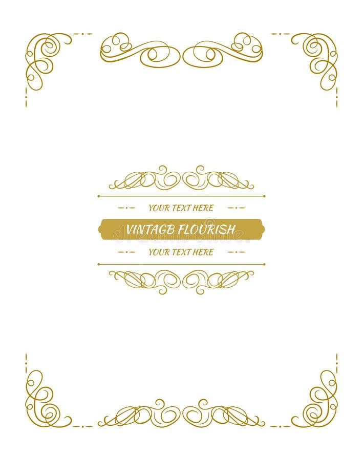 传染媒介装饰框架,书法设计元素,与金黄装饰的页 库存例证