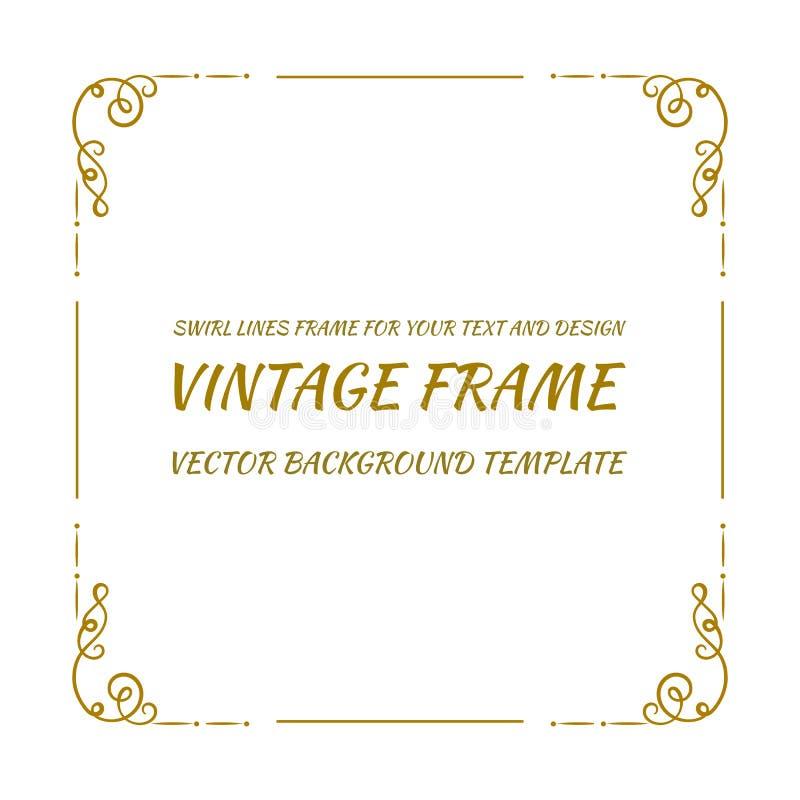 传染媒介装饰框架,在白色背景的葡萄酒金黄框架 向量例证