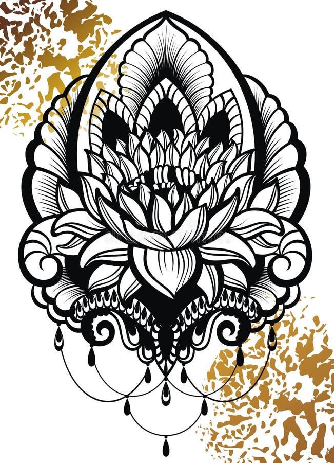 传染媒介装饰莲花,种族艺术 纹身花刺、占星术、方术、boho和魔术标志 向量例证