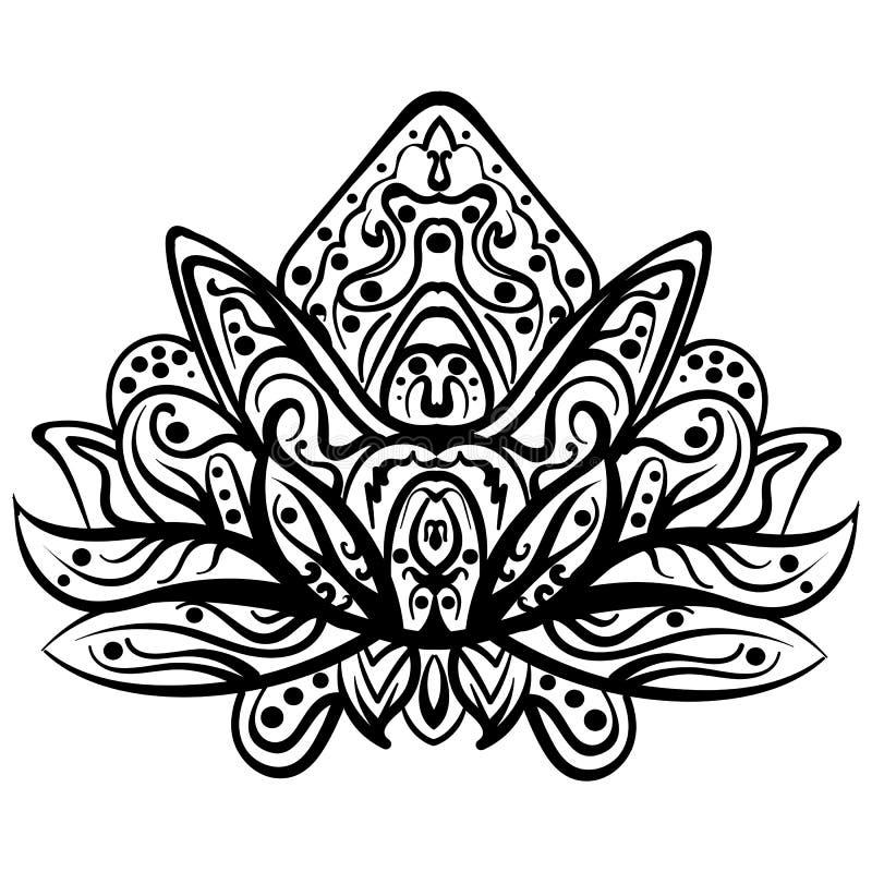 传染媒介装饰莲花,种族zentangled纹身花刺 库存例证