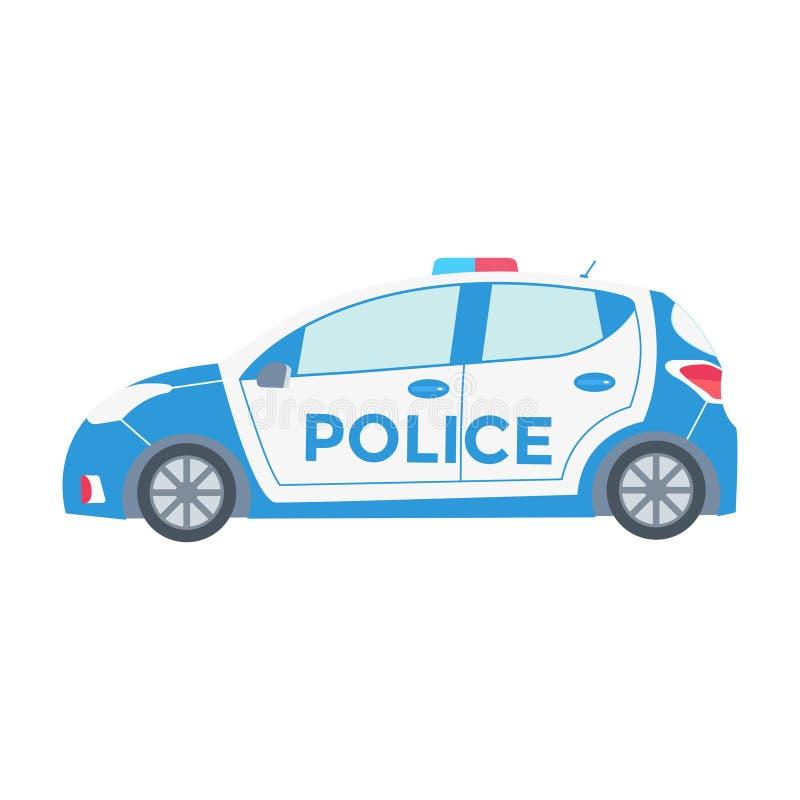 传染媒介警车在与闪动的ligh的白色隔绝的侧视图 皇族释放例证