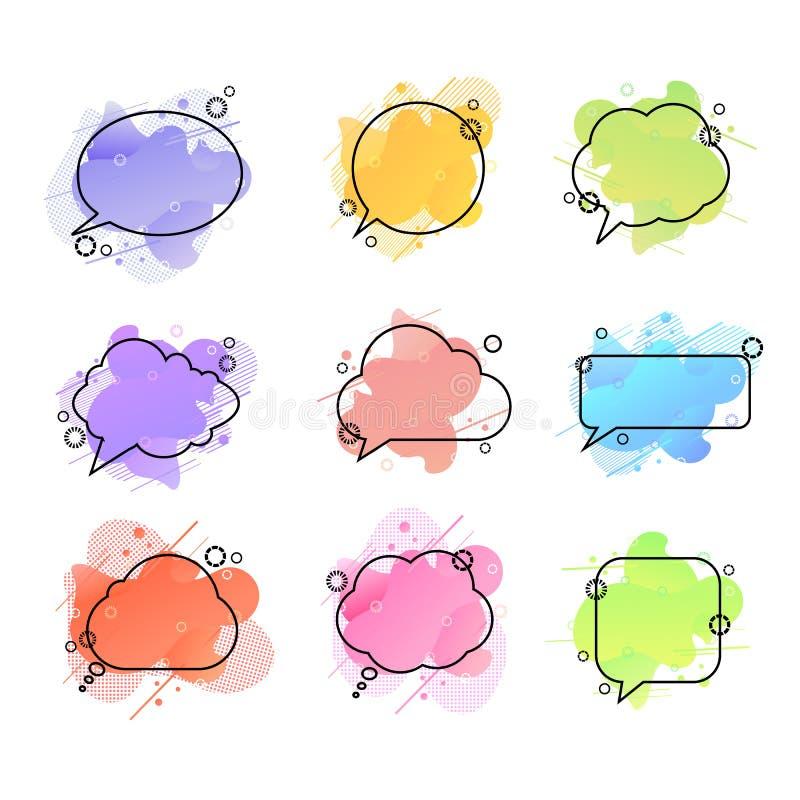 传染媒介讲话泡影,五颜六色的液体在白色背景塑造几何背景,设计元素集被隔绝 向量例证