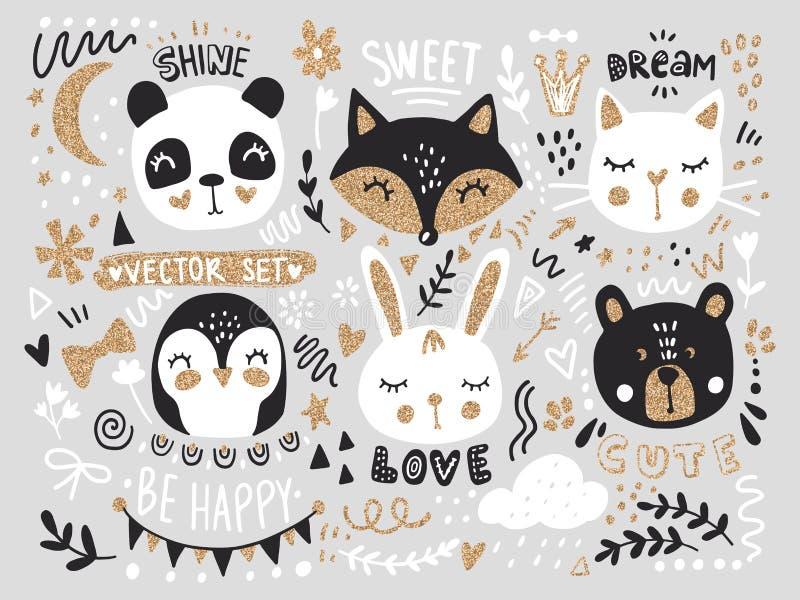 传染媒介设置与动画片动物-狐狸、熊、熊猫、兔宝宝、企鹅、猫、逗人喜爱的词组和元素 向量例证