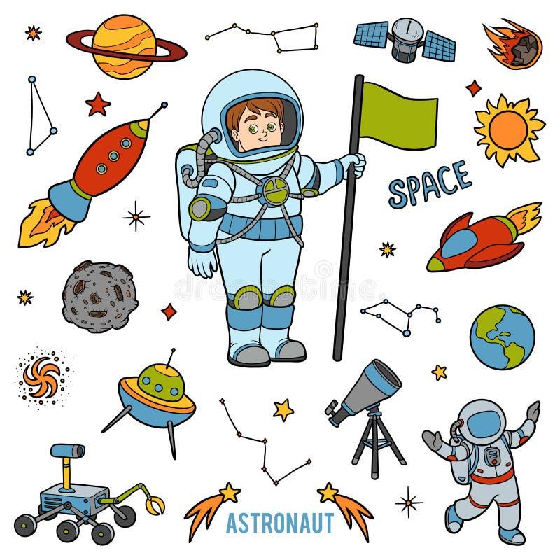 传染媒介设置与宇航员和空间对象 动画片项目 库存例证