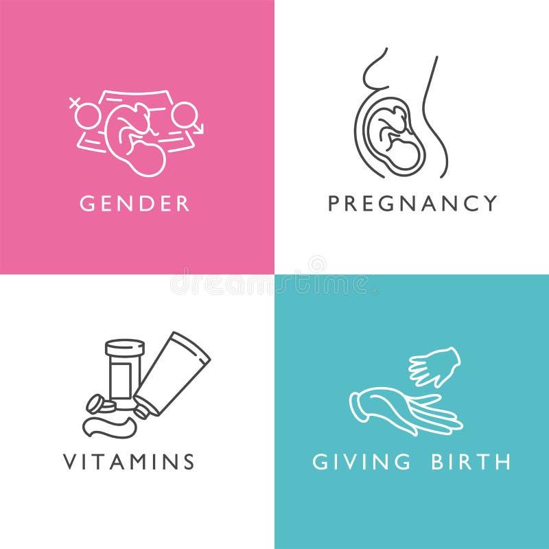 传染媒介设置了产科学和怀孕象  性别和怀孕的,维生素线性设计变老和诞生 向量例证
