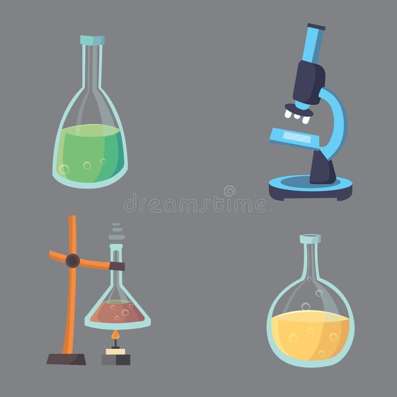 传染媒介设置了-化工测试平的设计化学实验室实验设备 向量例证