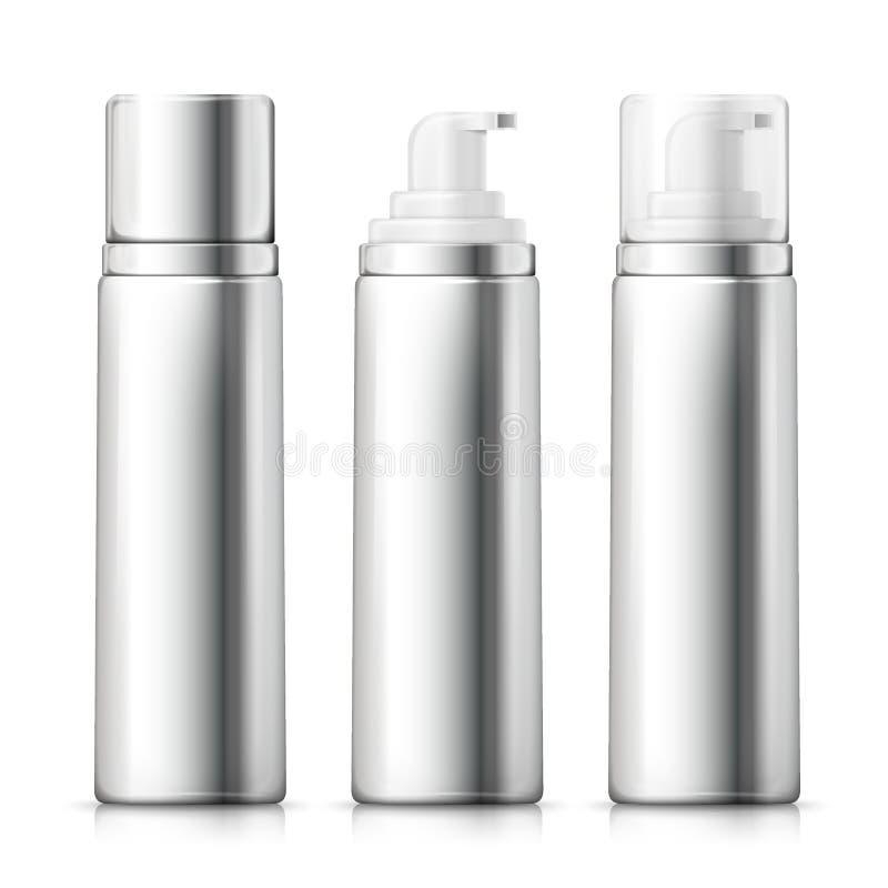 传染媒介设置了- 3d现实银色泡沫瓶 皇族释放例证