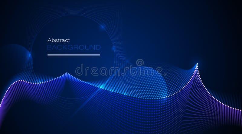 传染媒介设计在蓝色背景的通信techno 网或横幅背景的未来派数字技术 皇族释放例证