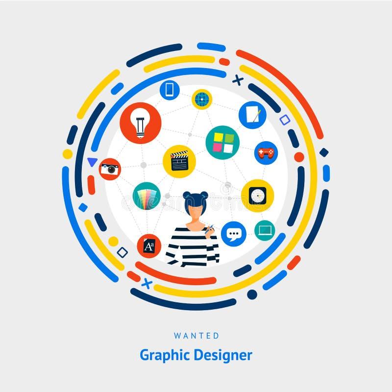 传染媒介说明平的设计观念图表设计师 创造性的想法技巧为得到工作或成功人 皇族释放例证