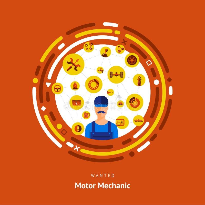 传染媒介说明平的设计观念马达机修工技巧 向量例证
