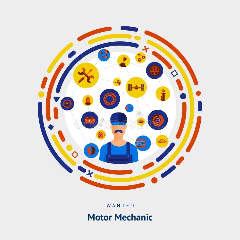 传染媒介说明平的设计观念马达机修工技巧 库存例证