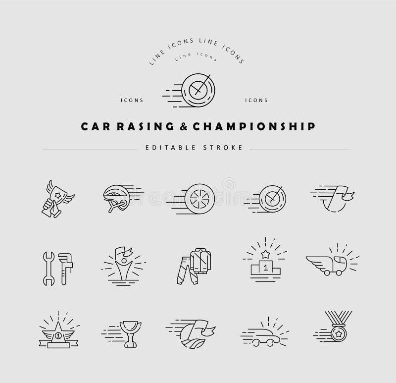 传染媒介象和商标小汽车赛和冠军的 编辑可能的概述冲程 向量例证