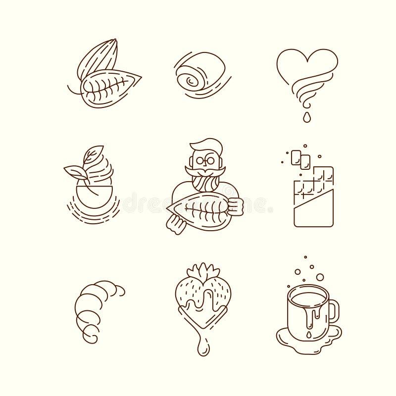 传染媒介象和商标巧克力和甜点的 向量例证