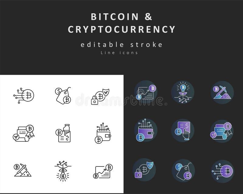 传染媒介象和商标bitcoin和cryptocurrency 编辑可能的概述冲程 向量例证