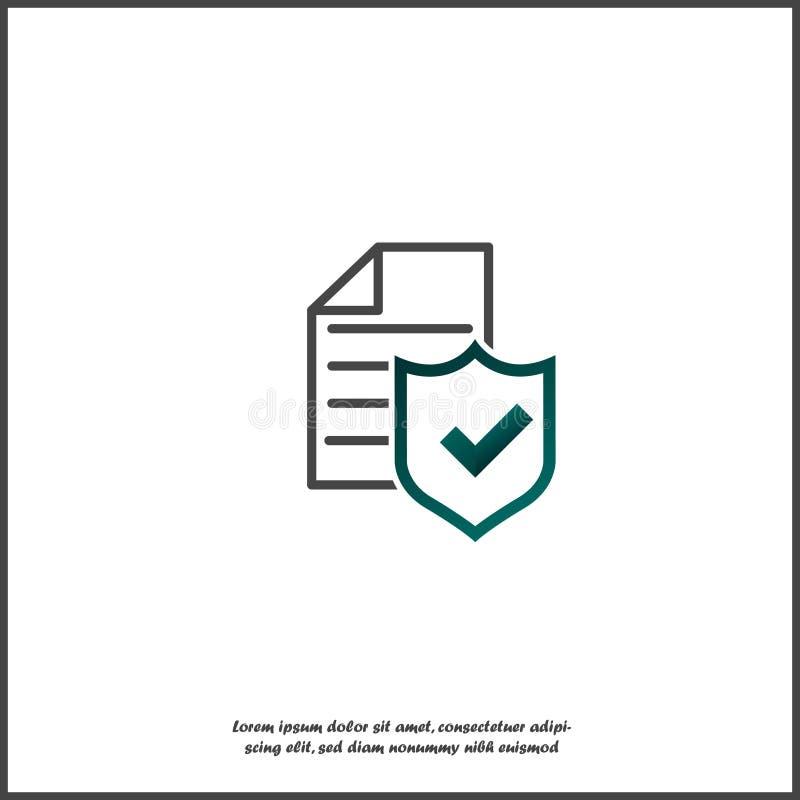 传染媒介象在白色被隔绝的背景的检查板 数据保密,保险单 库存例证