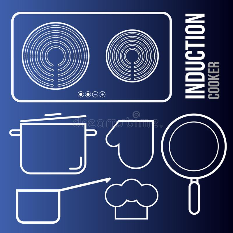 传染媒介象归纳cooktops和厨房用具 库存例证