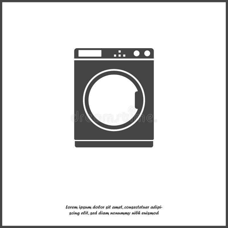 传染媒介象洗衣机 在白色被隔绝的背景的家用电器例证 为容易编辑编组的层数 向量例证