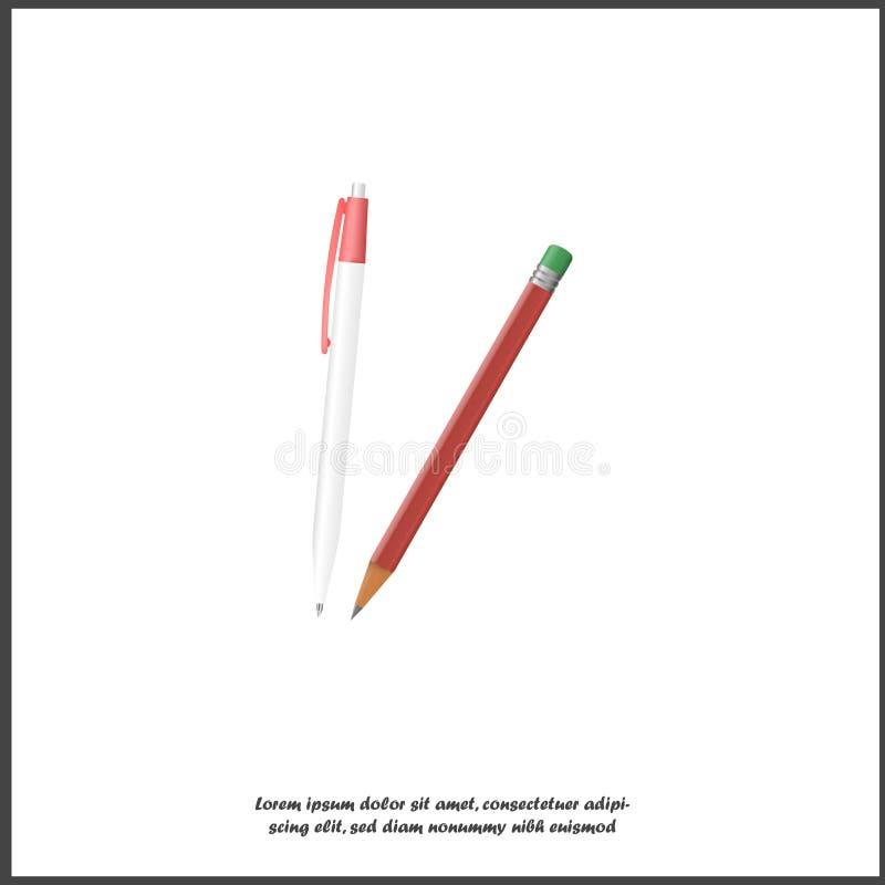 传染媒介象笔和铅笔 3d事务的,教育,关于白色被隔绝的背景的研究现实图象 皇族释放例证