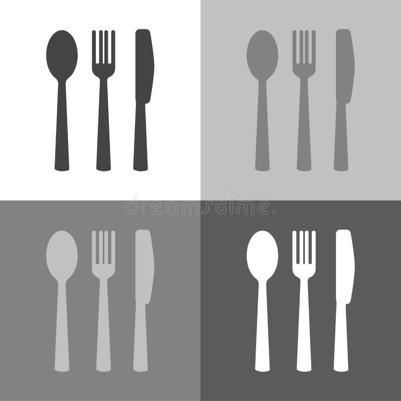 传染媒介象集合刀子、叉子、匙子和板材 刀叉餐具 节食盘玻璃评定集合表磁带水 皇族释放例证