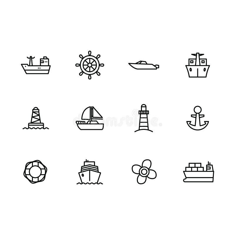 传染媒介象集合海船、帆船、方向盘、游艇、风帆、灯塔和推进器 概述传染媒介象水 向量例证