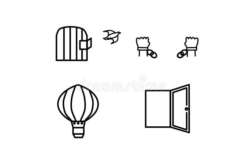 传染媒介象集合 一只鸟的自由从笼子的,在残破的链子,气球的手,门户开放主义 向量例证
