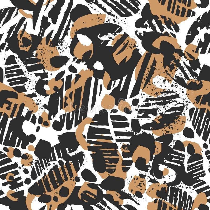 传染媒介豹子无缝的样式 r 异乎寻常的咖啡 皇族释放例证