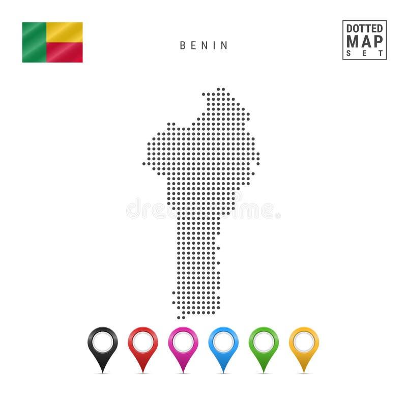 传染媒介贝宁的被加点的地图 贝宁的简单的剪影 比宁标志国民 套多彩多姿的地图标志 向量例证