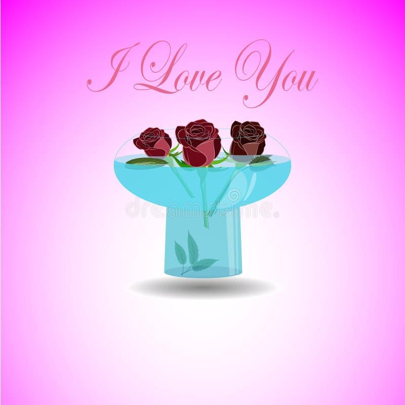 传染媒介贺卡我爱你 3朵美丽的玫瑰的例证在精密透明碗的用水 库存例证