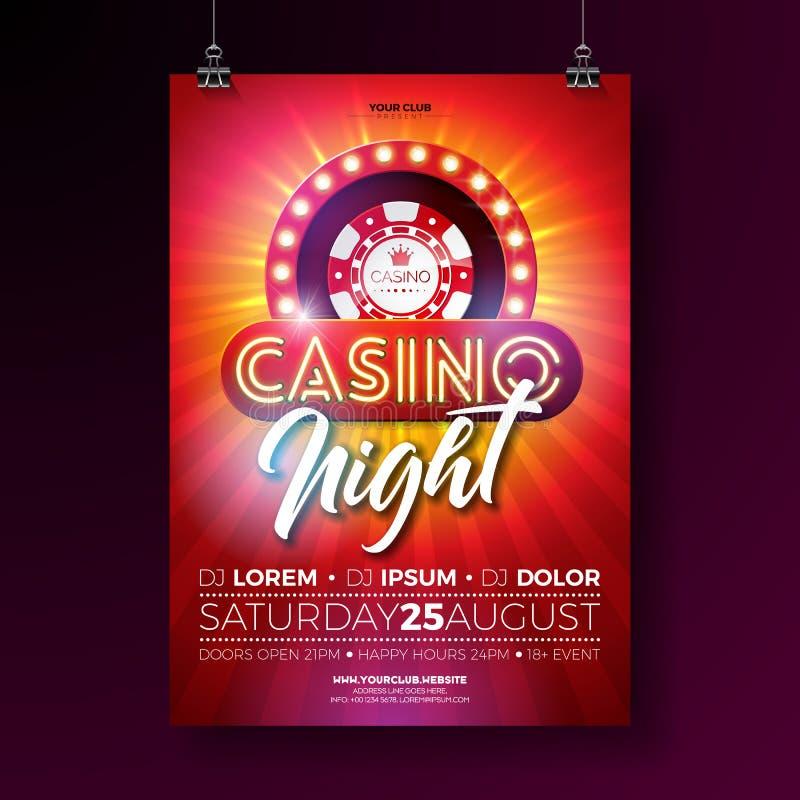 传染媒介赌博娱乐场夜与赌博的设计元素的飞行物例证和在红色背景的发光的霓虹灯字法 向量例证