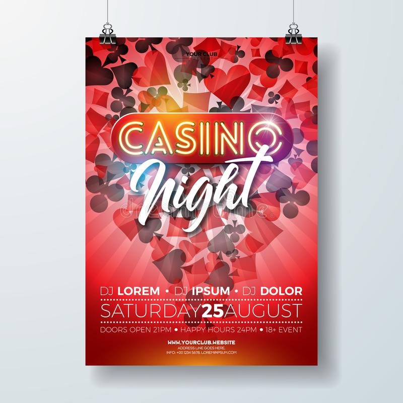 传染媒介赌博娱乐场夜与赌博的设计元素的飞行物例证和在红色背景的发光的霓虹灯字法 皇族释放例证
