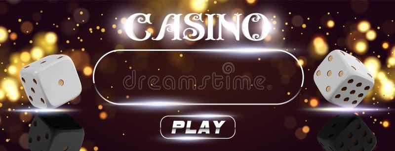 传染媒介赌博娱乐场标志在金黄发光的背景的啤牌模子顶视图  网上赌博娱乐场宽飞行物或横幅设计与 皇族释放例证