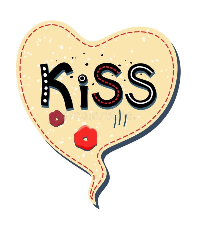 传染媒介起泡讲话以在白色背景的心脏的形式 在与文本亲吻和嘴唇里面 向量例证