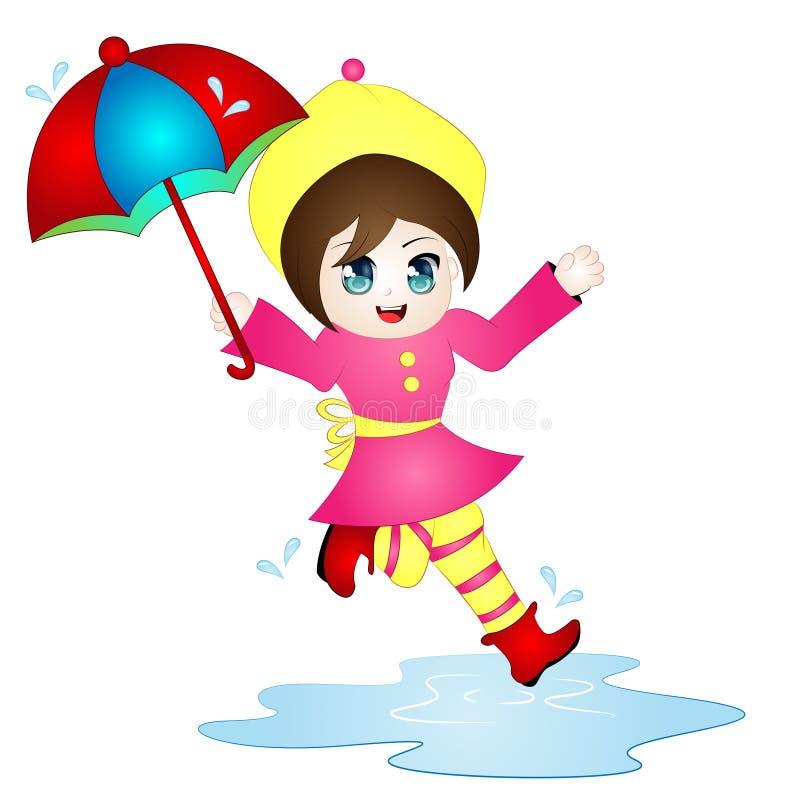传染媒介跳跃在水坑的动画片女孩 库存图片