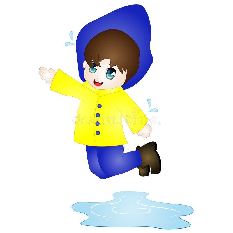 传染媒介跳跃在水坑的动画片男孩 免版税图库摄影