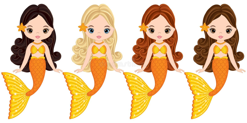 传染媒介逗人喜爱一点美人鱼游泳 传染媒介美人鱼 皇族释放例证