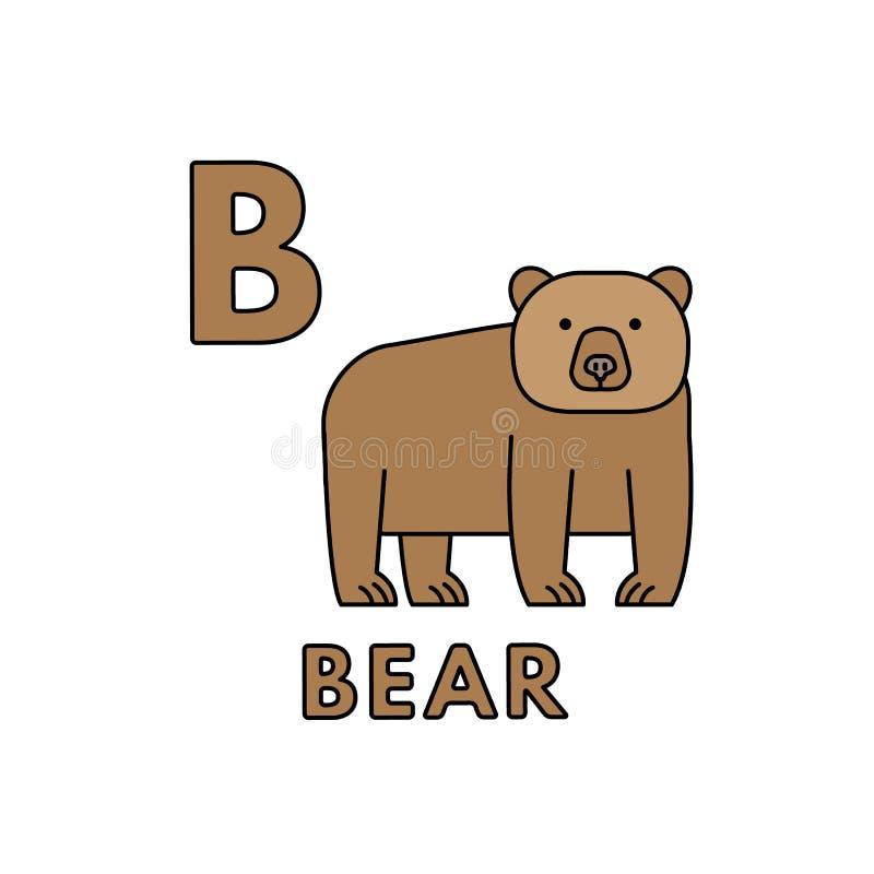 传染媒介逗人喜爱的动画片动物字母表 熊例证 皇族释放例证