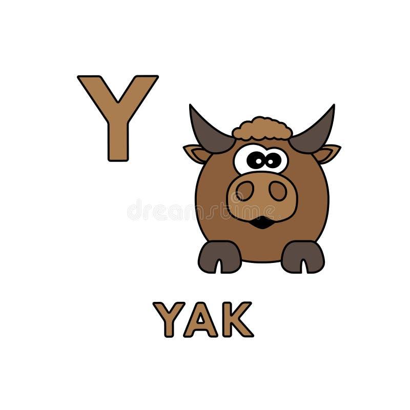 传染媒介逗人喜爱的动画片动物字母表 牦牛例证 皇族释放例证