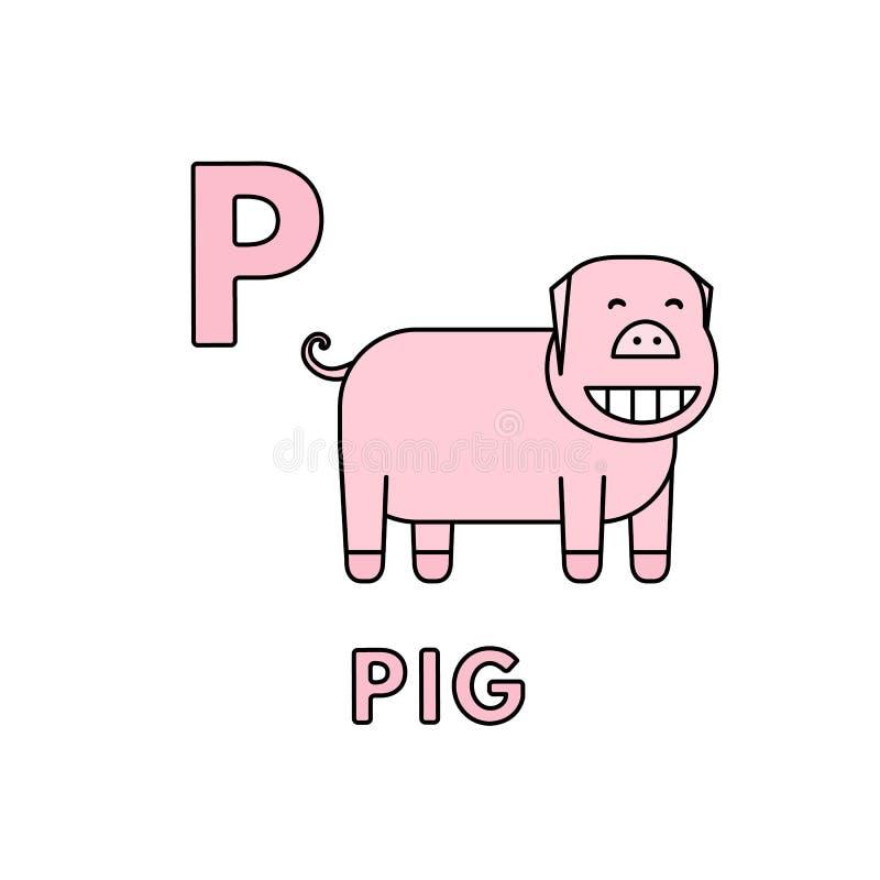 传染媒介逗人喜爱的动画片动物字母表 猪例证 向量例证
