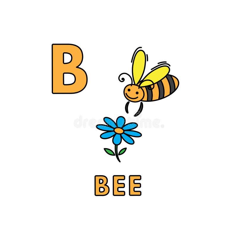 传染媒介逗人喜爱的动画片动物字母表 蜂例证 皇族释放例证