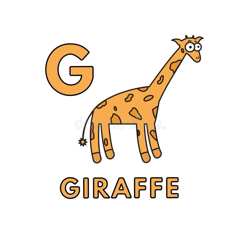 传染媒介逗人喜爱的动画片动物字母表 长颈鹿例证 向量例证