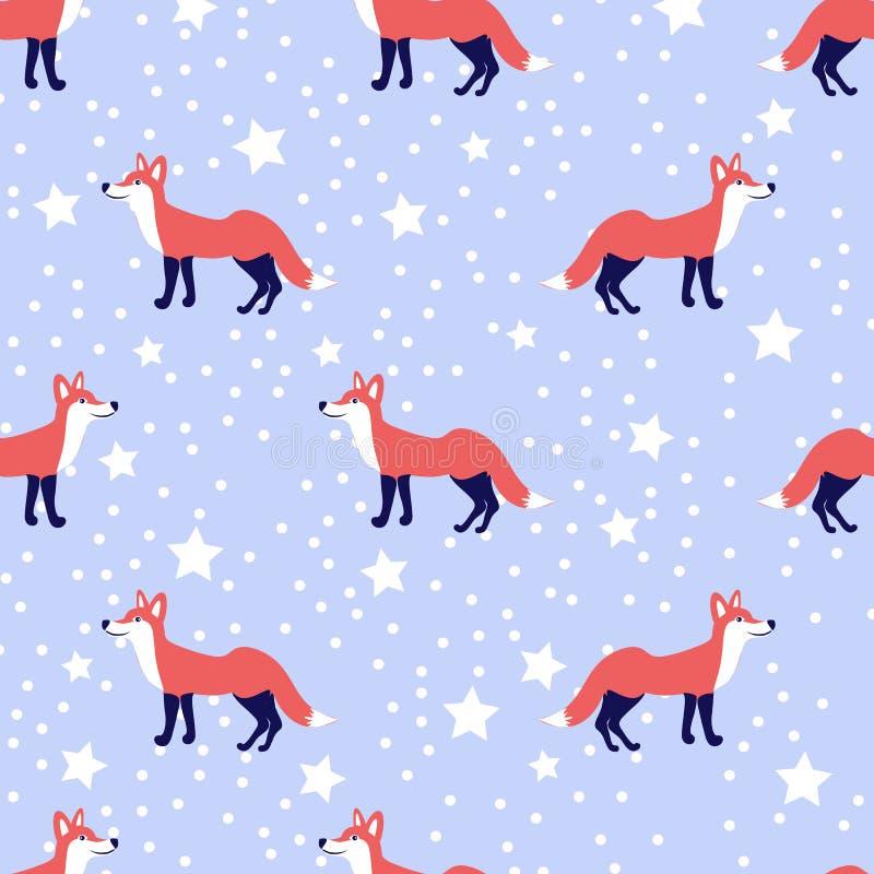 传染媒介逗人喜爱的动画片狐狸无缝的样式,在雪蓝色背景隔绝的野生动物,狡猾的不尽的背景,五颜六色 库存例证