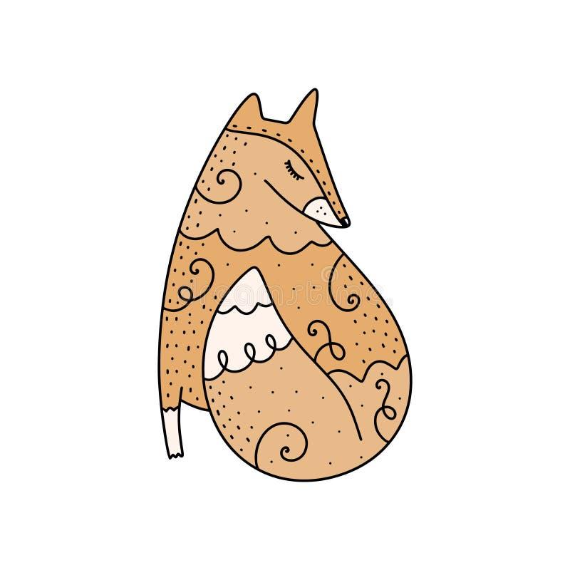 传染媒介逗人喜爱的华丽狐狸艺术 海报和横幅元素,孩子\'s书图解和其他 皇族释放例证