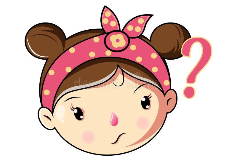 传染媒介逗人喜爱的女孩面孔的动画片例证 库存例证